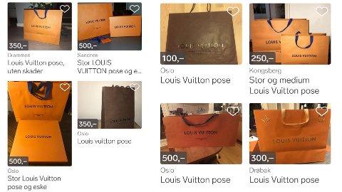 BRUKTE HANDLEPOSER fra kjente, dyre merker selges brukt på Finn.no. Søker man på «Louis Vuitton pose» på Finn.no, får man opp hele 125 treff.