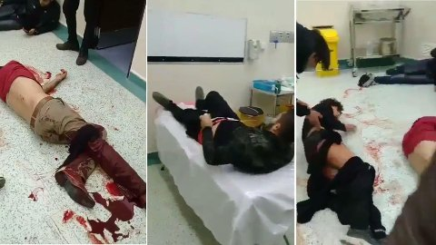 Bildene er hentet fra en video som ifølge Iran Human Rights, som har et svært bredt kildenettverk i Iran, viser demonstranter som ble skutt av iranske sikkerhetsstyrker. Protestene i Iran har pågått i snart seks dager.