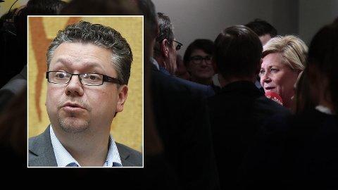 IKKE GREIT: Siv Jensen sier det ikke er greit å sende pornografiske bilder til mindreårige, slik det blir påstått at Ulf Leirstein har gjort. Leirstein har erkjent å ha gått over streken, men ikke kommentert anklagene i detalj.