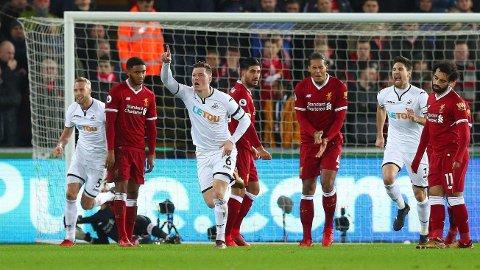 SCORET: Alfie Mawson jubler etter å ha scoret mot Liverpool.