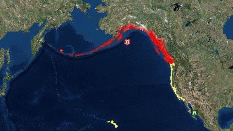 JORDSKJELV: Et jordskjelv med en styrke på 7.9 slo inn 250 kilometer sørøst for Chiniak i Alaska.