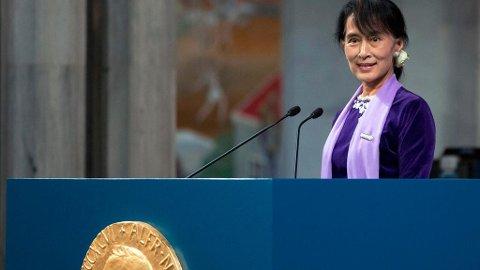 Aung San Suu Kyi ble tildelt Nobels fredspris i 1991