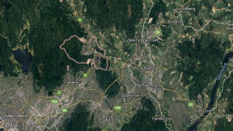 Hagan-området (innringet) på Romerike.