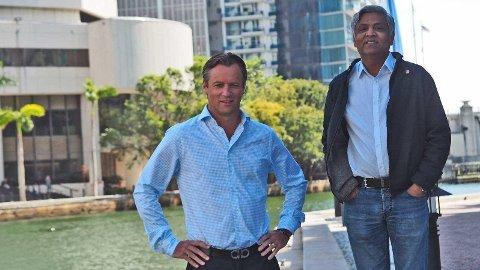SATSER STORT: Toppsjef Johan E. Andreassen og direktør Dharma Rajeswaran satser milliardbeløp på å revolusjonere lakseindustrien fra Miami, Florida.