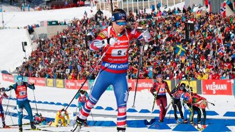 UTENFOR PALLEN: Tiril Eckhoff og det norske stafettlaget klarte ikke å komme på pallen i Holmenkollen under lørdagens stafett.