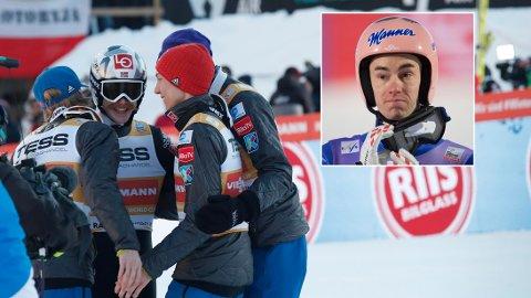OVERRASKET: Stefan Kraft og det østerrikske laget er overrasket over utviklingen Norge har hatt i hoppbakken det siste året.