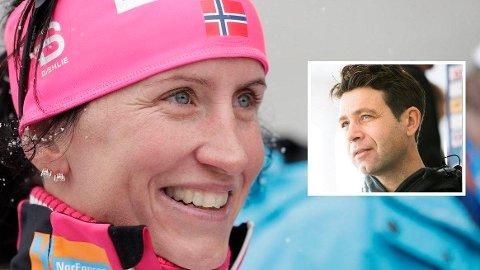 HYLLES: Marit Bjørgen får hyllest av Ole Einar Bjørndalen.