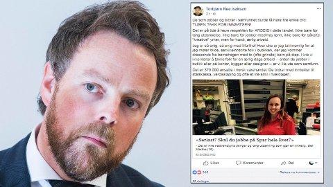 FORBANNET: Næringsminister Torbjørn Røe Isaksen etterlyser større respekt for ærlig og hardt arbeid. - Vi kan ikke leve kun av mennesker med mastergrad i Norge, sier Røe Isaksen, som er bekymret for at vi innen 2035 vil mangle 90.000 fagarbeidere.