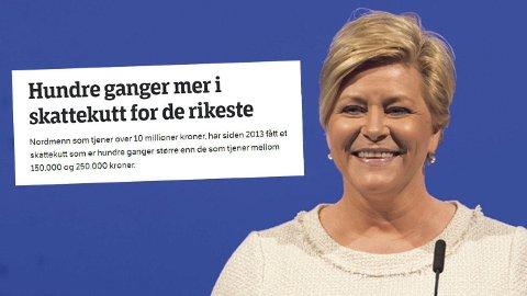 VIRKELIGHETEN: Mange norske aviser skrev om skattekutt til de rikeste. Men i virkeligeten er det de som betaler skatt som har fått skattekutt - naturlig nok.