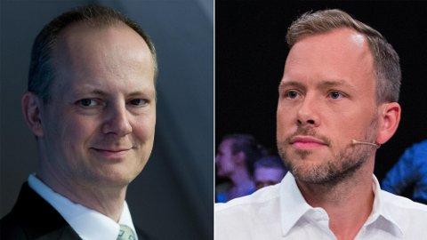 SV-leder Audun Lysbakken (t.h) gikk til frontalangrep på Frp, og får svar på tiltale fra Frp-nestleder Ketil Solvik-Olsen.