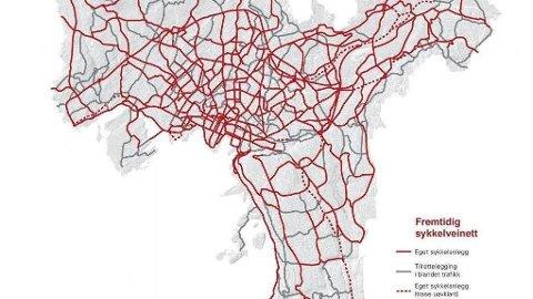SYKKELVEINETT: Slik vil sykkelveinettet i Oslo bli i framtida. Nå har Oslo-politikerne sagt ja til byrådets ambisiøse sykkelplan.