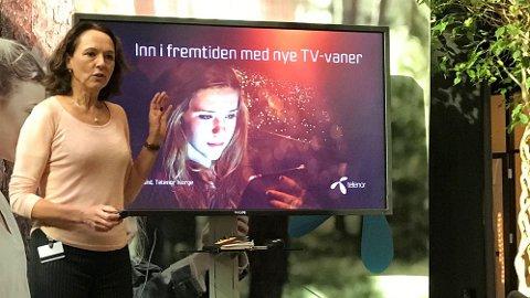 Telenors kabel-TV-kunder kan ikke regne med at Canal Digital, her representert ved bredbåndsansvarlig Birgit Bjørnsen, vil oppgradere til mye raskere teknologi.