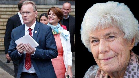 TVANGSFLYTTES: Byårdsleder Raymond Johansen og eldrebyråd Tone Tellevik Dahl står bak en politikk som fører til at 93-årige Ingrid Espelid Hovig blir tvangsflyttet fra Frognerhjemmet.