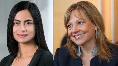 Med finansdirektør Dhivya Suryadevara og konsernsjef Mary Barra har General Motors nå to kvinnelige toppledere.