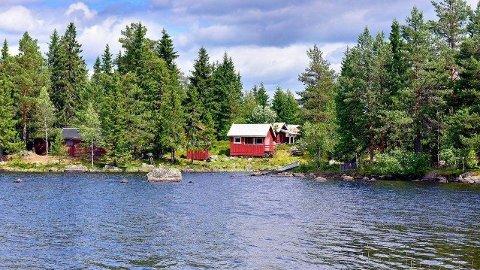 SOMMERIDYLL: Denne hytta som ligger idyllisk til ved Storsjøen på Sagvolden i Gran ble onsdag solgt for over én million kroner.