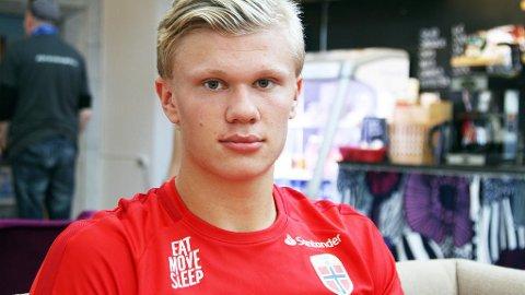 HAR VOKST: Erling Braut Håland forteller at han har gått opp 20 kilo siden han kom fra Molde. Det er blitt et mektig våpen for unggutten.