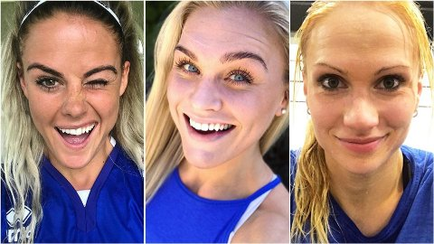 STJERNER:Sara Sigmundsdottir (t.v.), Katrin Davidsdottir (i midten) og Annie Thorisdottir (t.h.) er blant CrossFits største profiler. De er også alle fra Island.