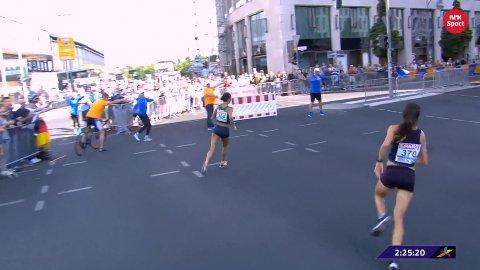 LØP FEIL: Volja Masuronak holdt på å miste EM-gullet like før mål.
