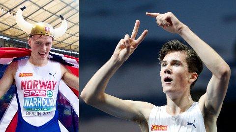 VM og EM-gullvinner Karsten Warholm (400m hekk) og dobbelt EM-gullvinner Jakob Ingebrigtsen (1500m og 5000m) er begge å se under NM i Friidrett på Byrkjelo 17-19. august.