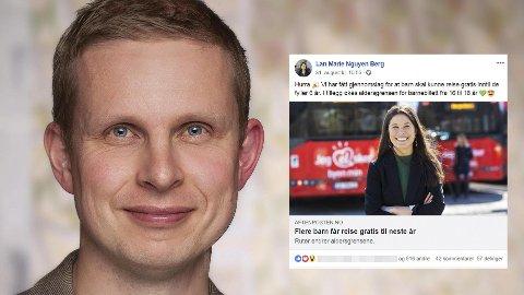PUSSIG: KrFs gruppeleder i Oslo bystyre, Erik Lunde, synes det er pussig at miljø- og samferdselsbyråd Lan Marie Nguyen Berg (MDG) i Oslo skryter på Facebook (innfelt) av at de har gjort det gratis for flere barn å reise kollektivt.