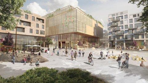 Slik ser Mustad Eiendom for seg sentrum av den nye Lilleakerbyen.