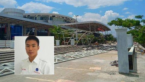 OFRET LIVET: Anthonius Gunawan Agung (21) ofret sitt eget liv da han sørget for at et fly på rullebanen kom seg i luften like etter jordskjelvet inntraff. Slik så det ut utenfor den aktuelle flyplassen etter jordskjelvet.