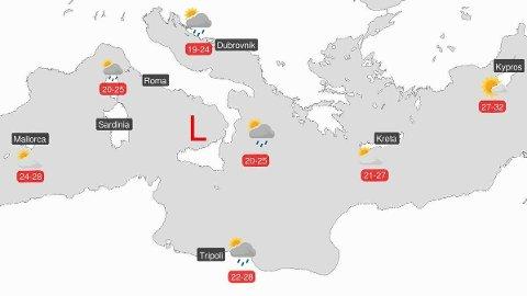 - Det blir ustabilt vær og byger i det sentrale Middelhavet, melder Meteorologene på Twitter.