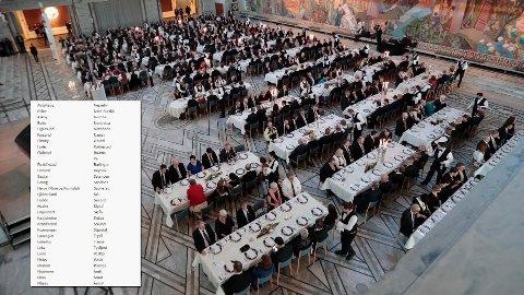 ORDFØRERLØNN: Etter 16 dager har om lag 60 av landets 422 kommuner ikke oppgitt ordførerens godtgjørelse, etter innsynskrav fra Nettavisen (listen innfelt). Bildet er tatt fra en gallamiddag for ordførerne i Oslo rådhus i fjor.