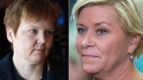 IKKE FORNØYD: Trine Lerum Hjellhaug i Lerum er veldig misfornøyd med at finansminister Siv Jensen (til høyre) ikke reverserte økningen i sukkeravgiften for brus og saft.
