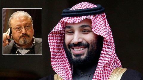 Den saudiarabiske journalisten Jamal Khashoggi (innfelt) ble drept på det Saudi-Arabias konsulat i Istanbul i Tyrkia tidligere i oktober. Saudi-Arabia, her representert ved kronprins Mohammed bin Salman, har avvist alle anklager om at det er de som står bak Khashoggis død.