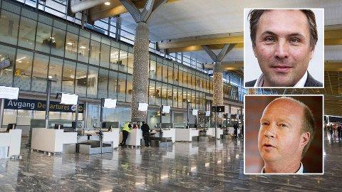 Trøndelags fylkesordfører Tore O. Sandvik (Ap) (øverst) rister på hodet av forslaget fra Ketil Kjenseth (V) om maks 10 flyreiser per nordmann per år.