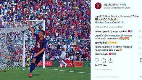 HISORISK NETTSUS: Ingen yngre spillere enn Fernando Ovelar (14) har noen gang scoret mål på toppnivået i Paraguay.