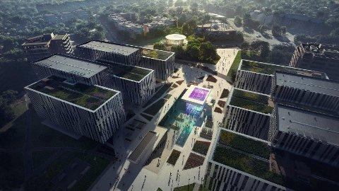 Slik er et av forslagene til utforming av Arena stasjon på Fornebu.