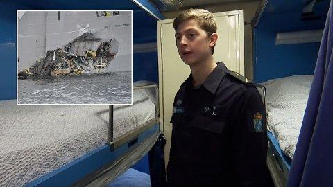 DRAMATISK: Kokkelærling Pål André Gustavson forteller om dramatiske minutter, da fregatten KNM Helge Ingstad kolliderte med tankskipet «Sola TS».