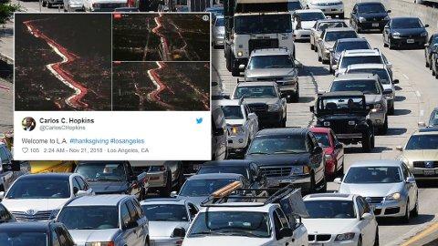 MANGE BILER: Bilder fra NBC Los Angeles viser at trafikken er enda verre enn vanlig nå i høytiden.