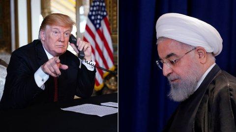 MOTSTAND: Irans president Hassan Rouhani (høyre) ber verdens muslimer om å samle seg mot USA og president Donald Trump.