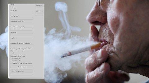 LUNGEKREFTKALKULATOR: Er du eks-røyker eller røyker du nå? Da kan du sjekke sannsynligheten for å utvikle lungekreft i den nye lungekreftkalkulatoren, utviklet av norske og greske forskere.