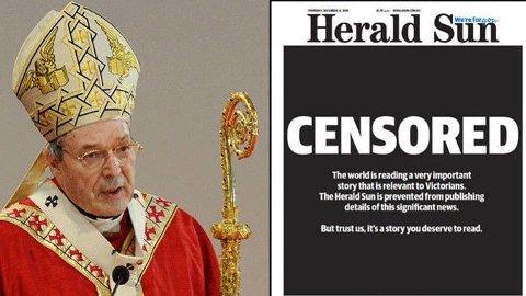 Kardinal George Pell (77) ble denne uken dømt for overgrep mot to korgutter på 1990-tallet, ifølge The Daily Beast. Australske medier har blitt pålagt rapporteringsforbud, noe The Herald Sun har gjort et poeng av i torsdagens avisforside.
