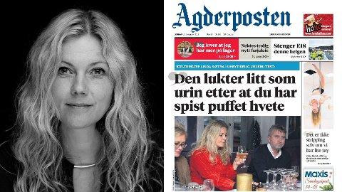 REAGERER: Kultursjef i Arendal kommune, Linda Sætra, reagerer kraftig på lokalavisen Agderpostens valg av forside i sin helgeutgave.
