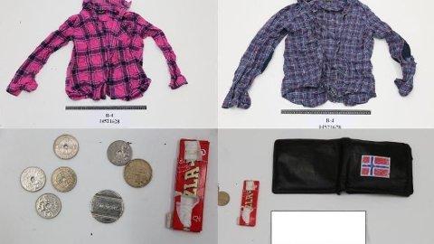 EIENDELER: Dette er noen av klærne og eiendelene mannen hadde på seg da han ble funnet i juli.