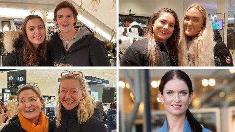 PÅ JULEHANDEL: Øverst til venstre Oline Folde (18) og Martin Swigon (18) (øverst til venstre), øverst høyre: Ane Talmo (22) (til venstre) og Marta Eidem (23). Nederst venstre: Gro Eriksen (til venstre) og Siri Koxvold Hveding. Forbrukerøkonom Anne Motzfeldt nede til høyre.