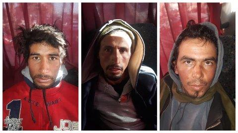 Dette bildet viser de tre mistenkte etter at de ble pågrepet på en buss i Marrakech torsdag. En annen mistenkt ble pågrepet tirsdag.