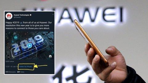 PINLIG TABBE: Huawei sin nyttårshilsen ble ikke helt som planlagt på Twitter.