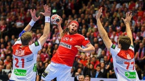 HERJET: Mikkel Hansen gjorde nærmest som han ville da Danmark slo Norge i håndball-VM.