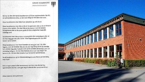 KARAKTERKORT: Dette brevet ble sendt med karakterkortet til elevene i 8. klasse ved Gran ungdomsskole. Foto: Håkon Sønneland / Kine Therese Vik-Erstad