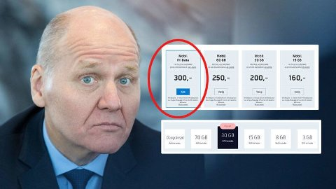 BILLIG: Som Telenor-kunde i Danmark får du ubegrenset data for 300 danske kroner i måneden. Noe slikt kan ikke Telenor-sjef Sigve Brekke tilby i Norge.