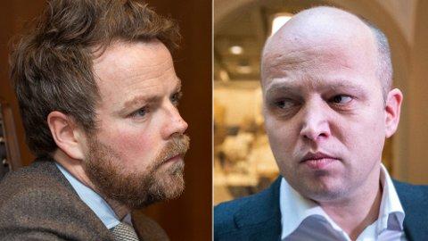 Næringsminister Thorbjørn Røe Isaksen (H) og Sp-leder Trygve Slagsvold Vedum er svært uenige om EU og EØS-spørsmålet.
