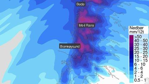 Torsdag ventes overgang til regn i Nordland, og meteorologene venter mye nedbør, opp mot 70 millimeter på tolv timer.