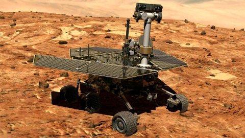 DØDE: NASAs romfarkost Opportunity har siden 2004 kjørt rundt på Mars og trofast sendt bilder tilbake til NASA-hovedkvarteret. Men nå er farkosten erklært død.
