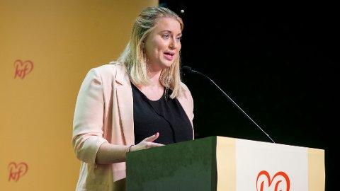 LANGER UT: KrFU-leder Martine Tønnessen reagerer på Knut Arild Hareides omtale av dem som stemte for at partiet skulle gå inn i den borgerlige regjeringen.